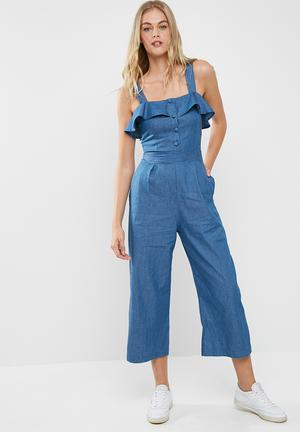 Dailyfriday Denim Culotte Jumpsuit Blue