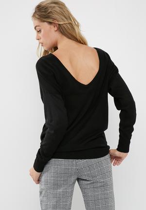 Dailyfriday Slouch V-back Knit Knitwear Black