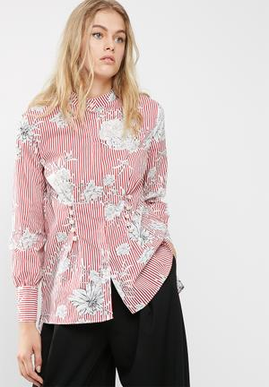 Dailyfriday Poplin Shirt With Pearl Buttons Red & White
