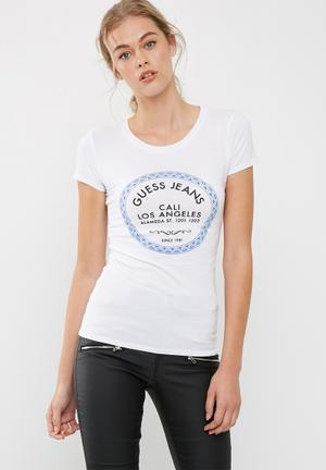 GUESS Morrocan Tile Tee T-Shirts, Vests & Camis White