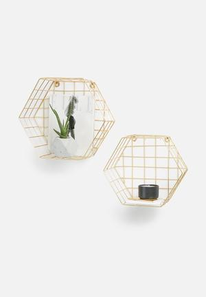 Hexagon wire wall shelf set of 2