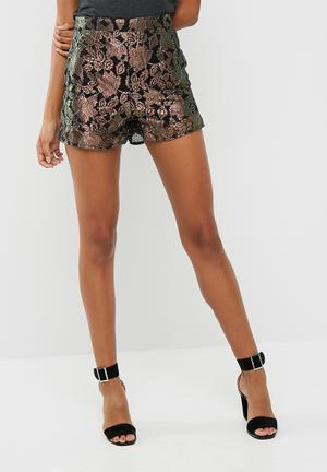 Missguided Tailored Shorts Black & Pearlescent