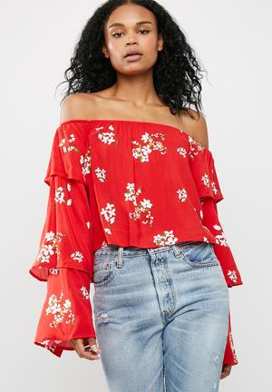 Missguided Floral Print Bardot Top Blouses Red