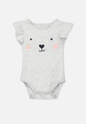 Cotton On Baby Mini Flutter Bubbysuit Babygrows & Sleepsuits Grey