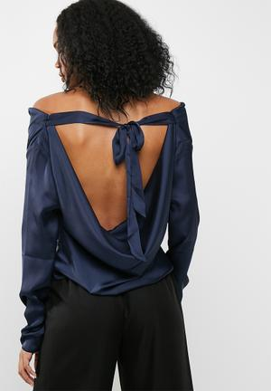 Missguided Satin Cowl Neck Blouse Navy