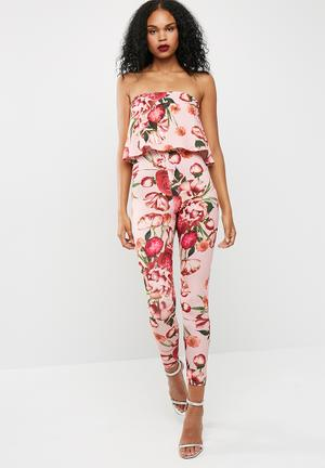 Missguided Printed Bandeau Double Layer Jumpsuit Pink, Purple & Orange