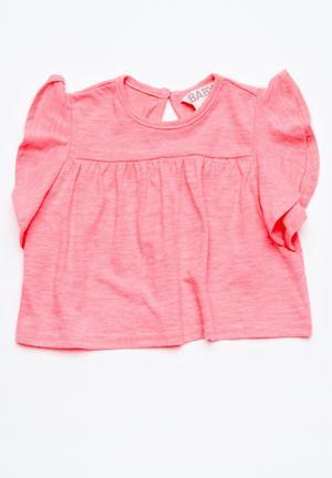 Cotton On Kids Becky Flutter Top Neon Pink