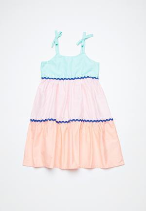 Cotton On Kids Molly Dress Blue, Pink & Orange