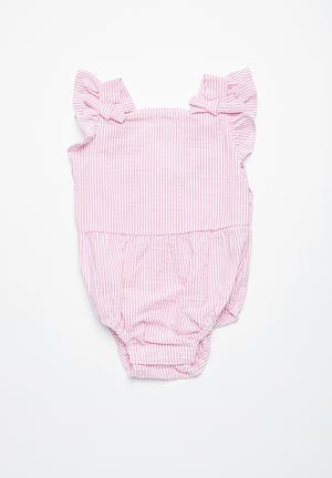 Cotton On Baby Brigitte Bow Tie Playsuit Dresses & Skirts Pink & White