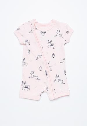 Cotton On Baby Mini SS Zip Through Romper Babygrows & Sleepsuits Pink