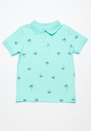 Cotton On Kids Kenny Polo Tops Turquoise
