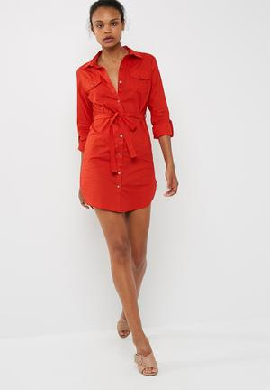 Dailyfriday Poplin Shirt Dress With Self Fabric Tie Belt Formal Red