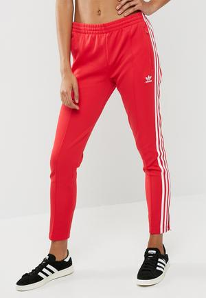 Adidas Originals SST Track Pant Bottoms Red & White