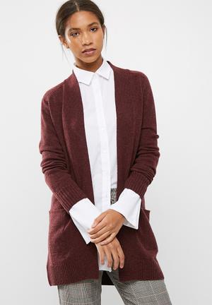 Dailyfriday Wool Blend Coatigan Knitwear Burgundy