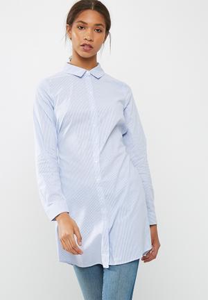 Vero Moda Silke Striped Long Shirt Blue & White