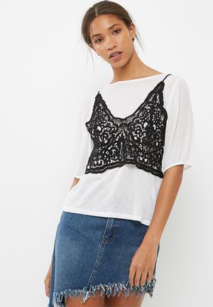 Vero Moda Novo Lace Top T-Shirts, Vests & Camis White