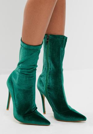 Public Desire Direct Point Toe Ankle Boot Green