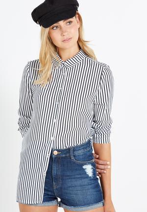 Cotton On Rebecca Shirt Dark Navy & White