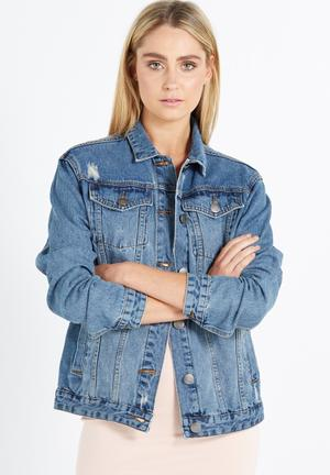 Cotton On Boyfriend Trucker Denim Jacket Blue
