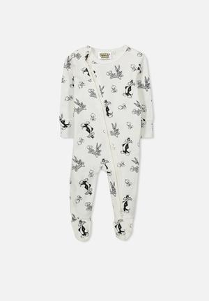 Cotton On Baby License Zip Through Romper Babygrows & Sleepsuits 95% Cotton 5% Elastane