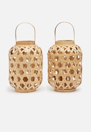 Bamboo lantern set of 2