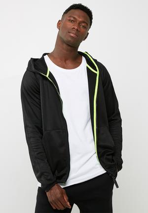 G-Star RAW Strett Slim Hooded Zip Thru Hoodies, Sweats & Jackets Black & Lime