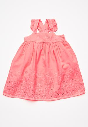 Cotton On Kids Claire Broderie Dress Neon Pink