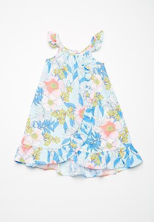 Cotton On Kids Angelina Dress Blue, Pink, Yellow & White