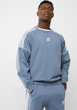 Adidas Originals Pipe Crew Sweat Top Dusty Blue