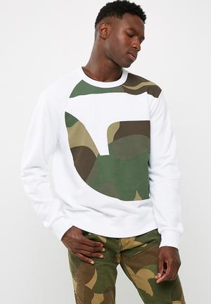 G-Star RAW Torne Stalt Top Hoodies & Sweats White, Green & Brown