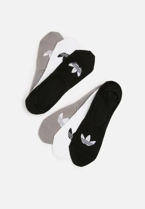 Adidas Originals No Show 3 Pack Socks Black, White & Grey
