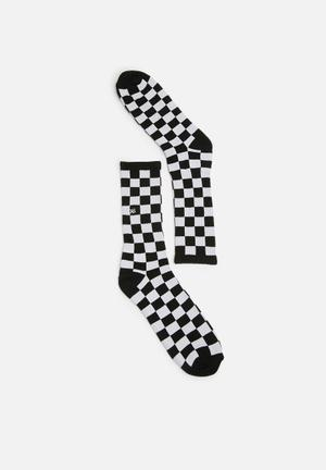 Vans Checkerboard Crew Sock Black & White