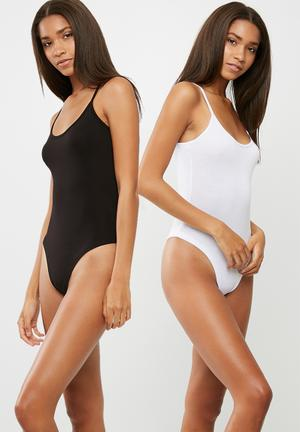 Dailyfriday Cami Strap 2 Pack Bodysuit Black & White