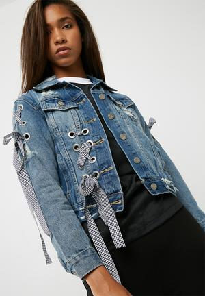 Dailyfriday Denim Jacket With Ribbon Detail Blue