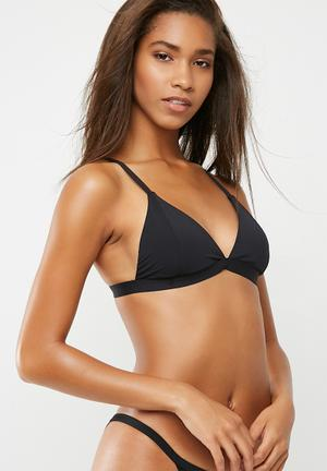 Cotton On Fixed Triangle Bikini Top Swimwear Black