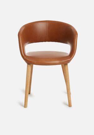 Sixth Floor Grace Dining Chair Tan PU Seat, Oil Treated Solid Oak Base