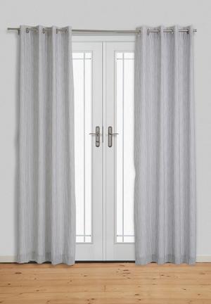 Sixth Floor Fine Stripe Eyelet Curtain Grey