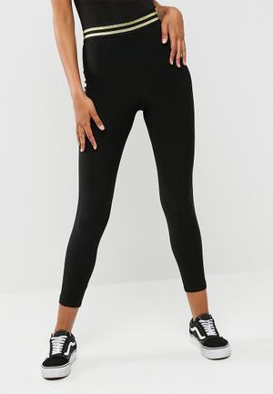 Missguided Metallic Trim Legging Trousers Black