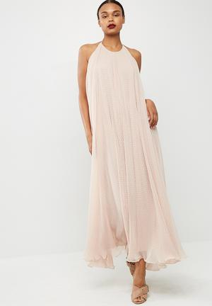 Missguided Dobby Mesh Halterneck Drop Back Maxi Dress Occasion Nude