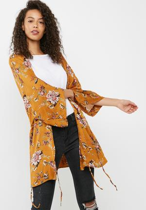Dailyfriday Soft Printed Kimono Jackets Brown, Coral & Blue