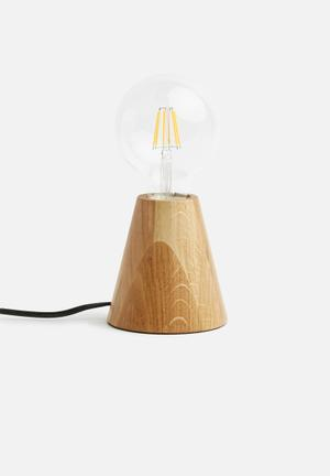 Sixth Floor Tapered Oak Table Lamp Lighting Oak Wood