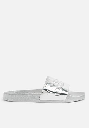 SUPERGA 1908 Pu Slide Sandals & Flip Flops Grey Silver