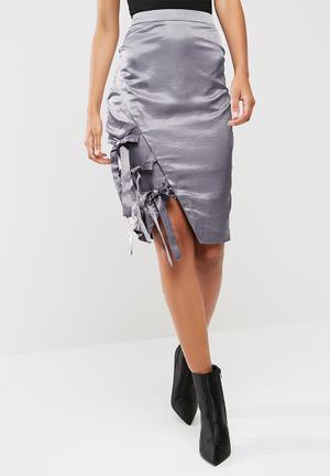 Missguided Hammered Satin Tie Side Midi Skirt Grey