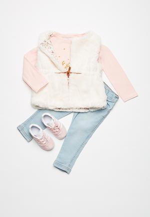 MINOTI Faux Fur Gilet Jackets & Knitwear White