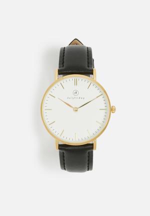 Dailyfriday Lauren Leather Watch Black & Gold