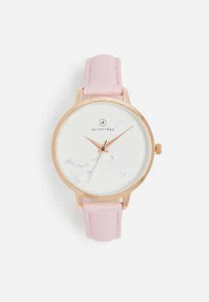 Dailyfriday Lindsay Marbled Face Leather Watch Pink & Gold