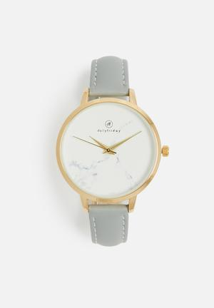 Dailyfriday Lindsay Marbled Face Leather Watch Grey & Gold