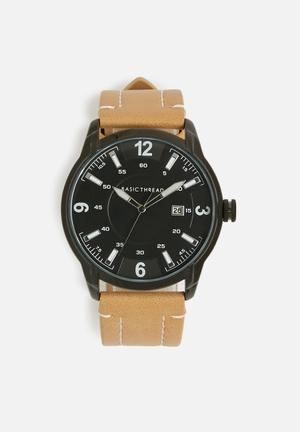 Basicthread Bryan Stitch Detail Leather Watch Tan