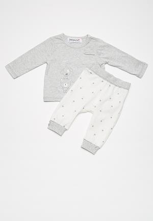 Babaluno Top And Legging Set Grey & White