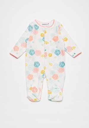 Babaluno Velour Sleepsuit White, Pink, Blue & Yellow